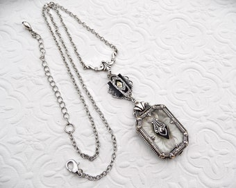 Camphor Glass Victorian Necklace, Art Deco Vintage Style Necklace, Victorian Mourning Jewelry Handmade, Silver Gothic Jewelry Womens Gift