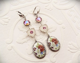 Pink Camphor Glass Earrings, Victorian Jewelry Handmade, Vintage Style Women's Gift