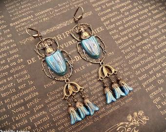 Ocean Blue Scarab Earrings, Egyptian Revival Jewelry Handmade, Vintage Style Gift for Women