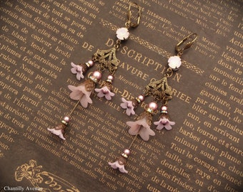 Pink Flower Chandelier Earrings, Victorian Jewelry Handmade, Vintage Style Gift for Women