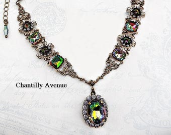 Art Nouveau Necklace Victorian Choker Vintage Style Jewelry Handmade Green Rainbow Crystal