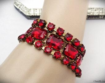 Vintage Style Red Rhinestone Bracelet Victorian Jewelry Handmade, Wide Ruby Multi Strand Bracelet Cuff Womens Gift