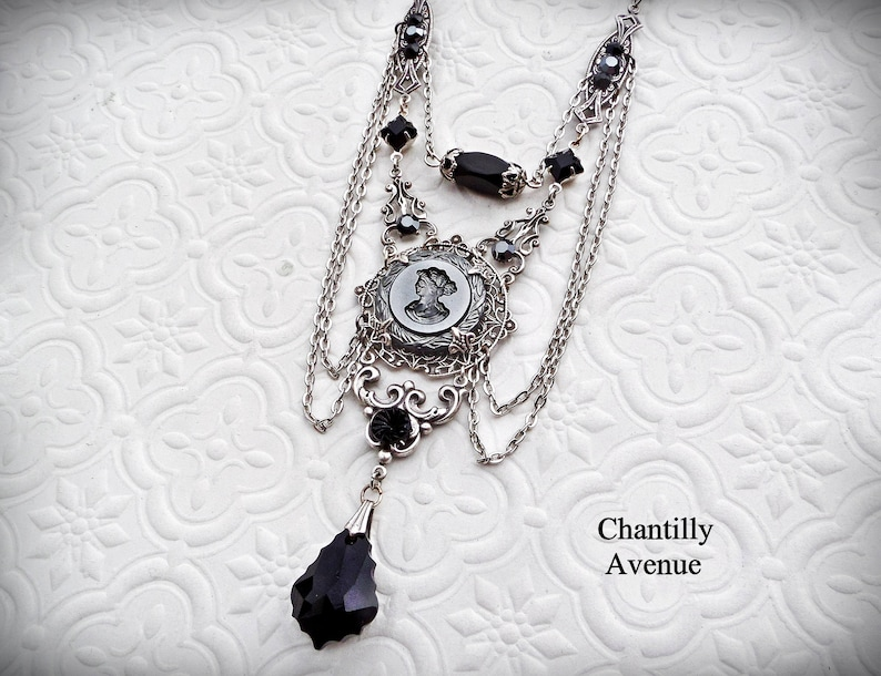Gothic Cameo Necklace Victorian Jewelry Handmade