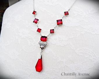 Ruby Red Art Deco Necklace Vintage Style Jewelry Handmade Czech Glass Victorian Swarovski Crystal Rhinestone Necklace
