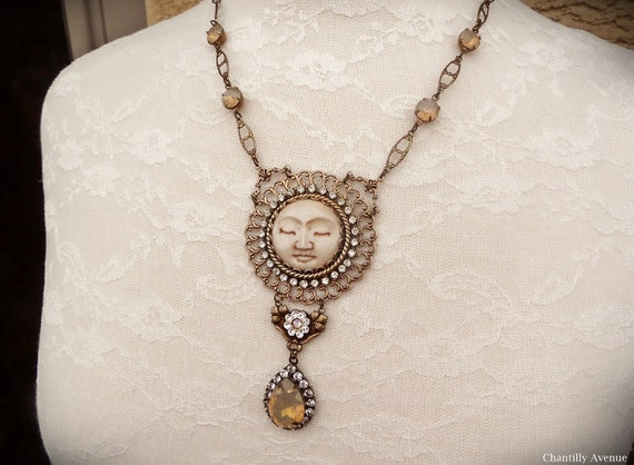 Carved Bone Moon Necklace Victorian Jewelry Handmade Vintage Etsy