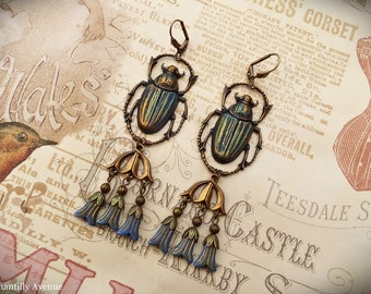 Blue Green Scarab Earrings, Egyptian Revival Jewelry Handmade, Vintage Style Gift for Women