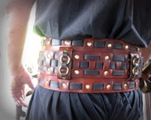 Leather Cherry and Black Weaved Warrior Belt with Brass / Game of Thrones Inspired Garb