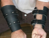 Black Leather Bracers / Vambraces Game of Thrones inspired Garb