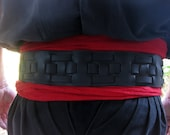 3 Inch Black Leather Weaved Pirate Belt
