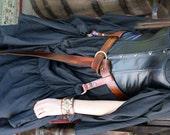 Woodgrain Brown Leather Ring Belt Game of Thrones Inspired Garb