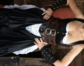 Wench's Woodgrain Brown with Black straps Pirate Leather Warrior Corset Belt