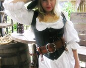 3 Inch Woodgrain Brown Leather Pirate Belt