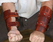 Brown / Woodgrain Leather Bracers / Vambraces/ Game of Thrones inspired Garb