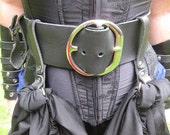 3 Inch Black Leather Pirate Belt / Fashion Belt