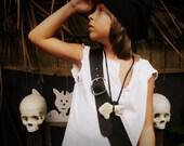 Child's Black Leather Pirate Sword Baldric / Bandolier