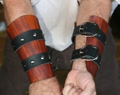 Brown/ Woodgrain with Black Leather Bracers / Vambraces/ Game of Thrones inspired Garb
