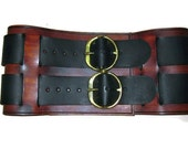 8 Inch Woodgrain Brown and Black Pirate Leather Warrior Belt Game of Thrones Garb