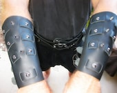 Weaved Leather Bracers / Vambraces with domed rivets and spikes/ Game of Thrones inspired Garb