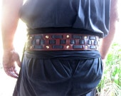 3 Inch Leather Cherry Finish Pirate Belt Weaved with Black Straps / Brass Buckle and Rivets