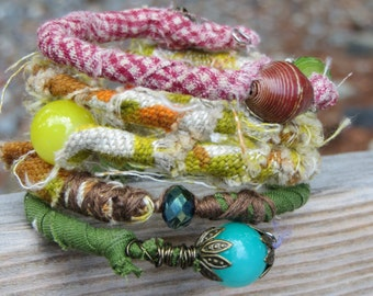 Fabric Textile Wrap Bracelet Memory Wire Coiled Wire Bracelet Fabric and Beads BoHo Style Wrap Bracelet