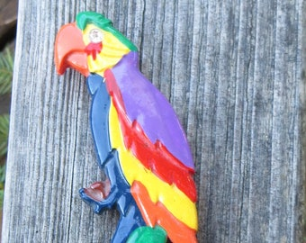 Huge Parrot Brooch or Pin Painted Wood or Plastic Vintage Bird Brooch Large Colorful Parrot Pin Costume Jewelry Unique Bird Brooch Parrot