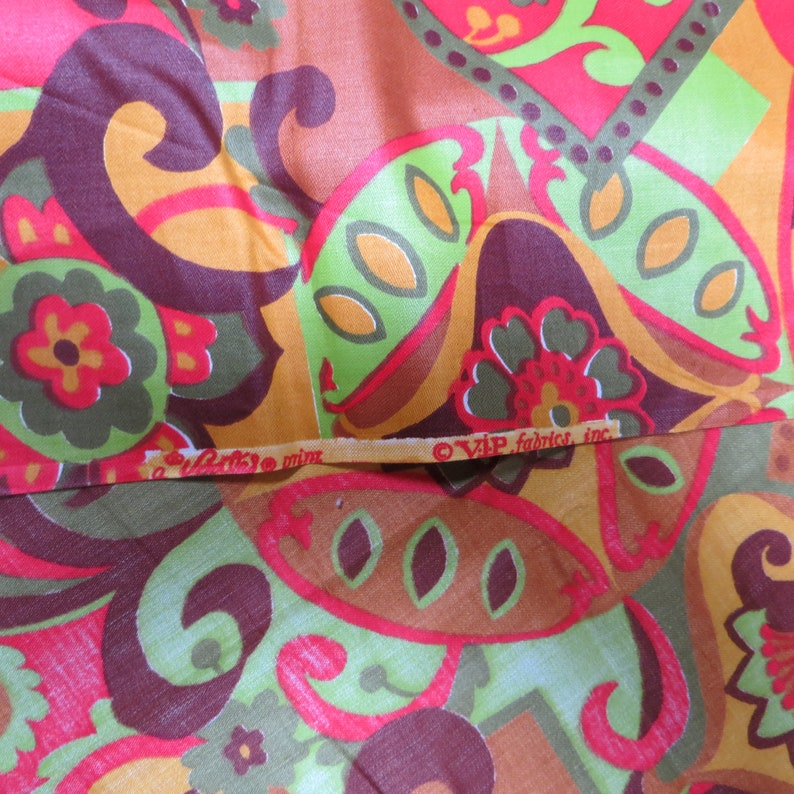 43 Long by 44 Wide Retro Colors and Design Fabric