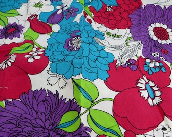 Vintage Fabric Piece Big Bold Floral Design S.C. Corp Purples Reds and Green Lovely Vintage Fabric Piece