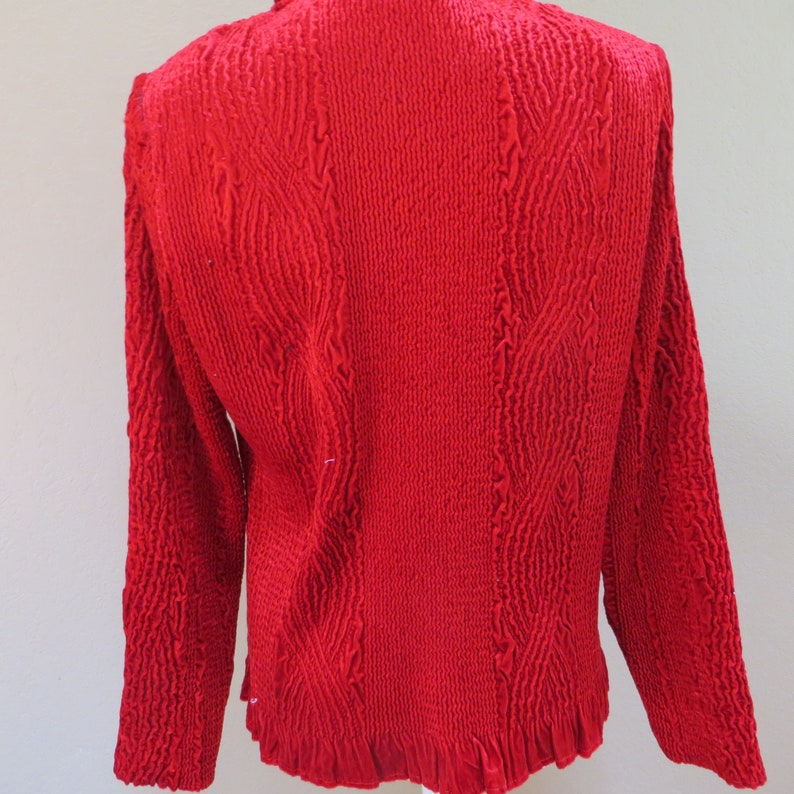 Red Red Crushed Velvet Look Polyester Button Up Blouse from Chicos Vintage Chicos Size 1 Crinkly with Ruffled Neck and Long Sleeves Chicos