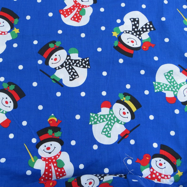 5b560988070a7 Christmas Fabric Snowman Fabric Bright Bold Holiday Fabric Winter Fabric  Cotton Quilting Fabric with Snowpeople One Yard Snowman Fabric