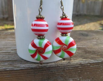 Candy Earrings Beaded Spearmint Candy Holiday or Christmas Earrings Whimsical Holiday Jewelry Striped Beaded Fun Glass Beaded Handmade