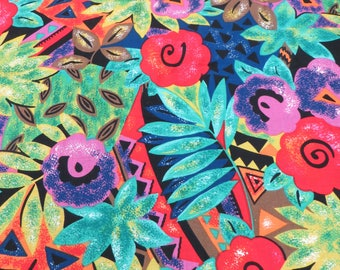 "John Kaldor Vintage Fabric Fun Bold Tropical 48"" long x 42"" wide Cotton Quilting or Sewing Fabric Bright Happy Summer Fabric Purple Red Blue"