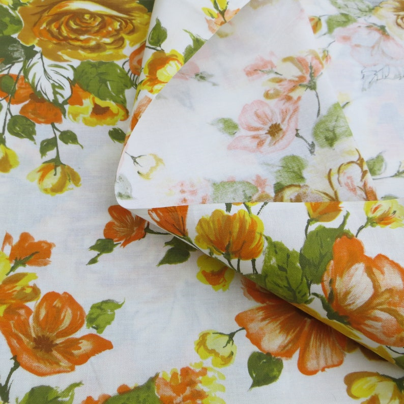 Heavy Cotton Fabric Bold Floral Fall Colors Yellow Orange Gold One Yard Cotton Fabric Pillow Fabric Bag Fabric Curtain Fabric Upholstery