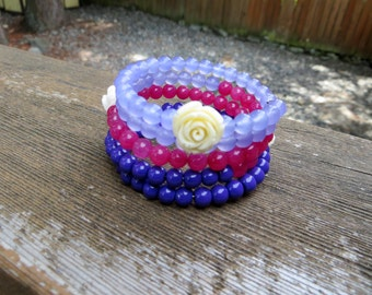 Memory Wire Bracelet Purples and Pinks and Roses Coiled Wire Wrap Bracelet Beaded Wrap Bracelet