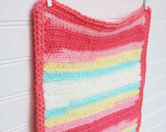 Crochet Doll Blanket Rainbow/Coral/White/Yellow/Mint 18 x 12