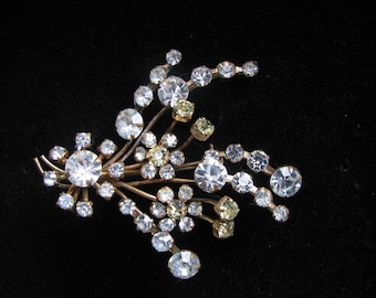 Austrian Brooch,  Floral Spray, Clear and Citrine, Goldtone