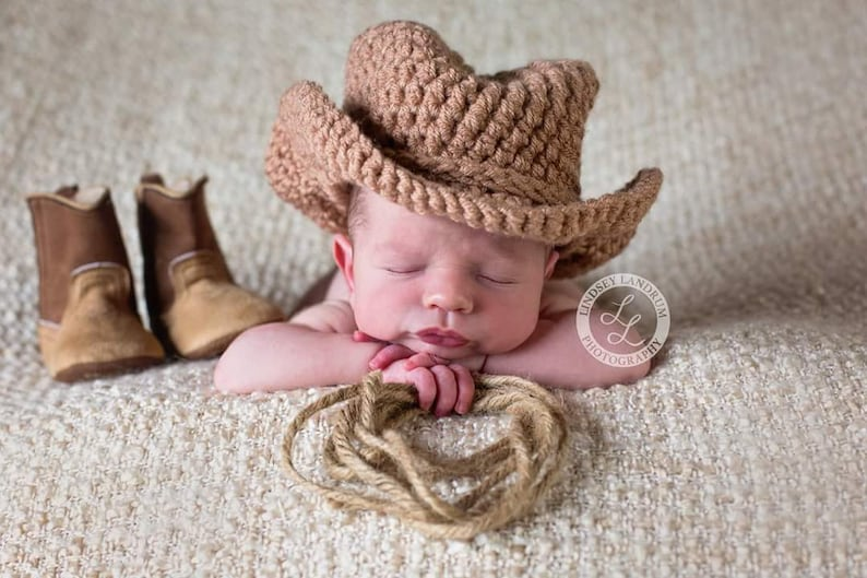Newborn Crochet Cowboy Hat Baby Boy Cowboy Hat Baby Girl Etsy