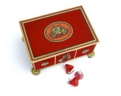 Vintage Metal Candy Tin, Red Velvet Candy Box, Western Germany
