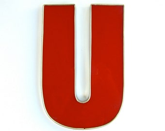 Vintage Salvage Letter U, Initial, Red Channel Marquis Advertising, Industrial Sign, Wedding Decoration, Patio, Housewarming