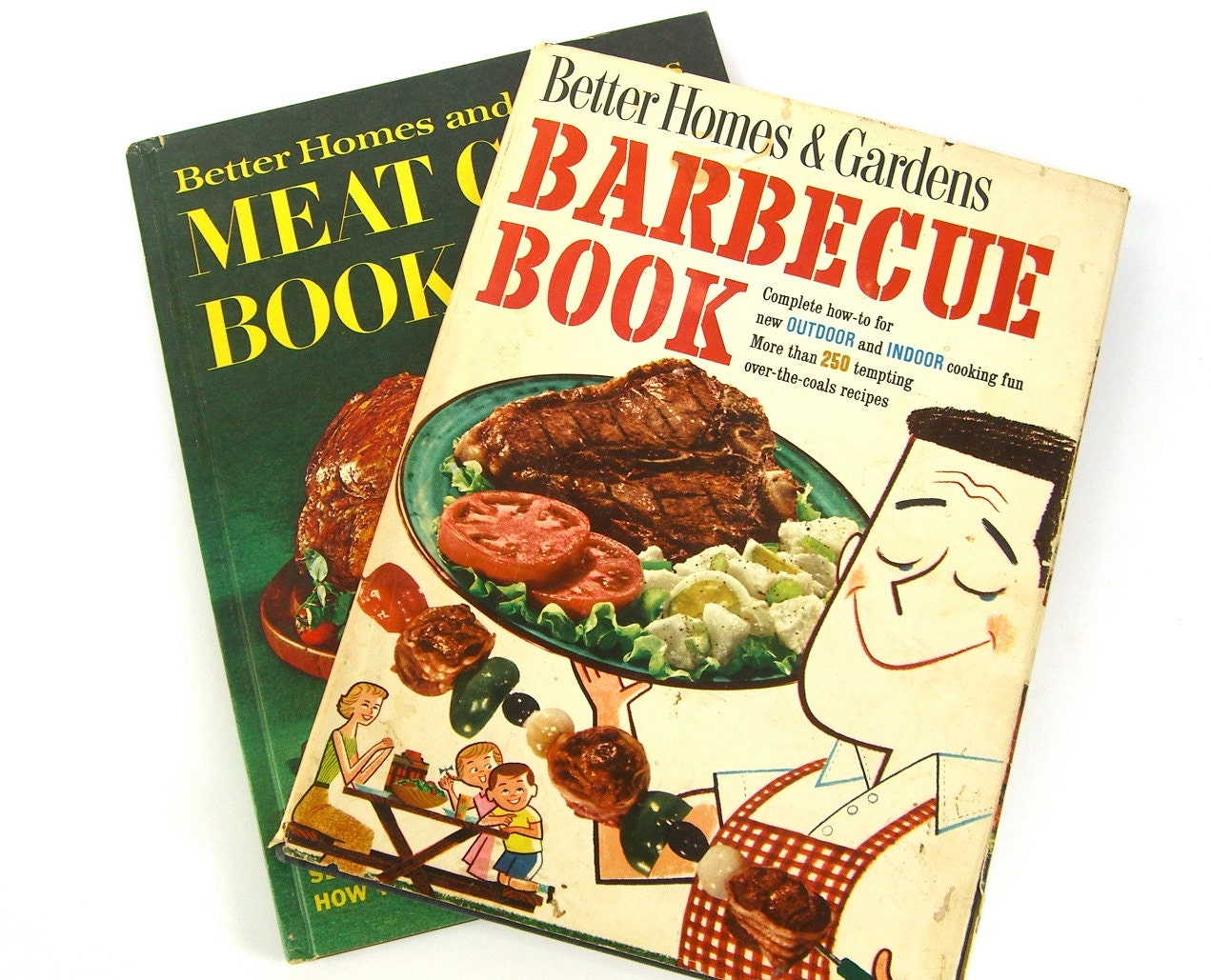 2 Vintage Cookbooks, Barbecue Book, Better Homes and Gardens Meat Cookbook,  1950s 1960s Illustrations, Recipes, Father's Day, Under 10