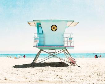 Lifeguard Tower Photography, Santa Cruz, Colorful Beach Art, Beach Nursery, Coastal Nursery, Kids Beach Room, California Beach Decor