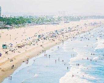 "Santa Monica Beach Photo, Los Angeles Photography, Pale Blue Coastal Decor, West Coast, California Seaside,  ""Santa Monica Seaside"""