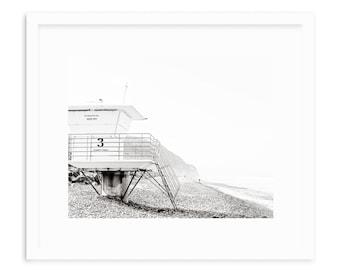 Torrey Pines Beach Art, Black And White Beach Print, Monochrome, Modern Beach Art, San Diego, California Beach Art, Lifeguard Tower Print