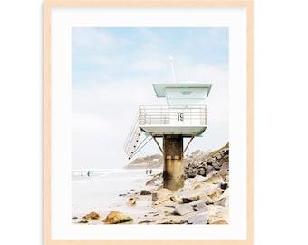 Encinitas Beach Art Print, Pipes Lifeguard Tower, California Surf Print, San Diego Beach Art, Swamis, Pipes Beach, San Diego Art,  Beach