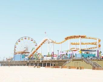 Santa Monica Pier, Colorful Wall Art, Santa Monica Beach Print, Pastel, Large Beach Art, Kids Wall Art, Nursery Decor, Los Angeles