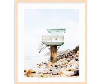 Pipes Beach, Swamis, Cardiff Beach, Lifeguard Tower Neutral Coastal Decor, Neutral Beach Art, Light Blue, Beach Bungalow,  Beach Print