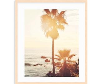 Golden Palms- Sunset Palm Tree Print, California Beach Art, Beach Print, Coastal Decor, Teen Wall Art, Golden Sunset,  Teen Beach Room