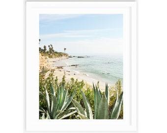 Laguna Beach Print , Large Beach Print,  Cactus Print, Coastal Decor, Coastal Wall Art, Coastal Cottage, Sea Green, Turquoise, Beach Art