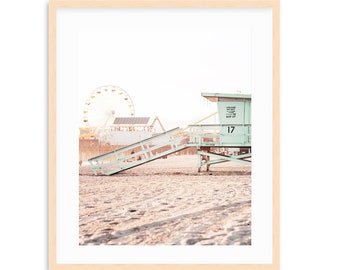 Santa Monica Beach Art, Pastel, Coastal Art, Los Angeles Art, Santa Monica Pier, California Beach Art, Lifeguard Tower, Beach Vibe