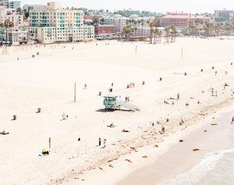 Aerial Beach Art, Santa Monica Beach Art, Los Angeles, California Beach Print, Coastal Wall Decor, Beach Wall Art, Lifeguard Tower