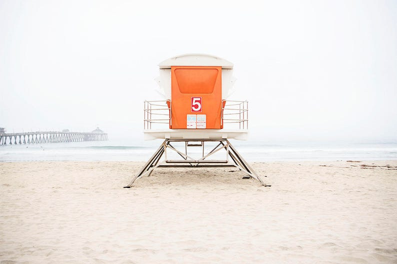 ceee03fbeb Colorful Wall Art, Orange Decor, Beach Photography, Coastal Wall Art,  Bright Pop Of Color, Beach Wall Art, Lifeguard Tower, San Diego Beach
